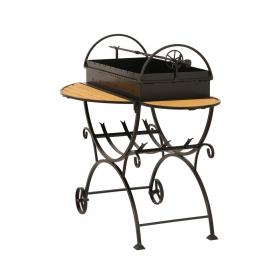 Мангал садовый МСДК с дровницей на колесах